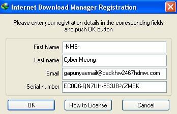 cara daftar serial number idm